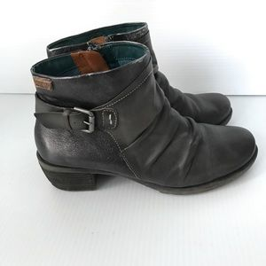PIKOLINOS Pewter Gray Slouchy Leather Booties 8.5